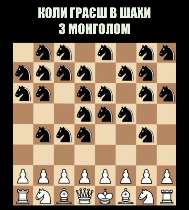 Мем про шахи. Коли граєш в шахи з монголом, в нього всі фігури - коні