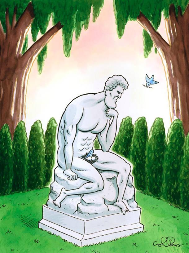 В парку статуя оголеного чоловіка в задумливій позі. В області паху пташки звили гніздо в якому лежить два яйця і сидить пташка