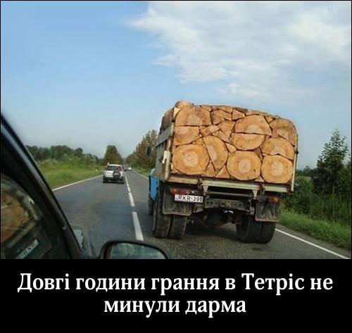 Довгі години грання в Тетріс не минули дарма. На фото: вантажівка везе дерев'яні колоди, які укладені дуже щільно