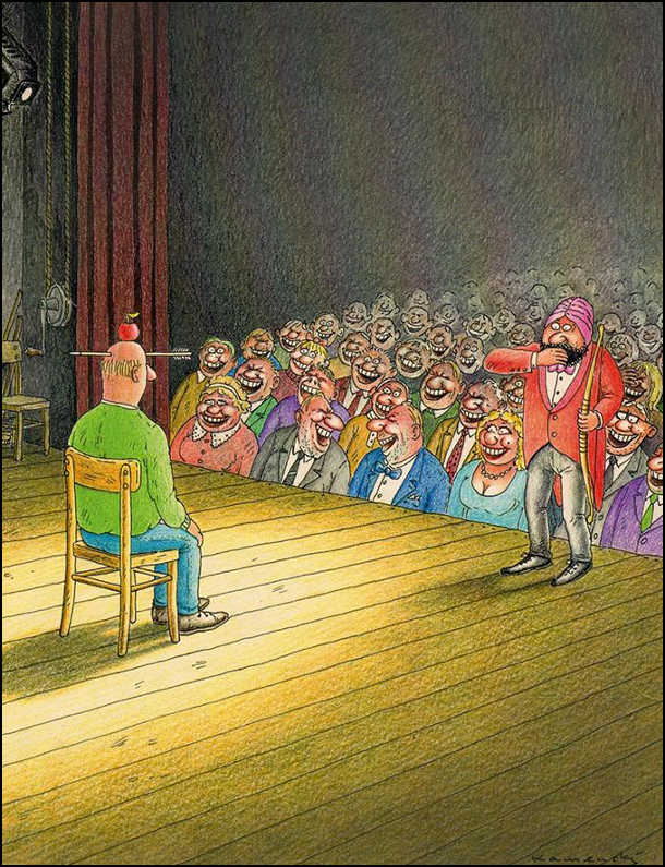 В цирку ілюзіоніст запросив глядача на сцену, поклав яблуко на голову і вистрілив в яблуко з лука. Стріла пройшла нижче, якраз в лоба. Всі глядачі в захваті