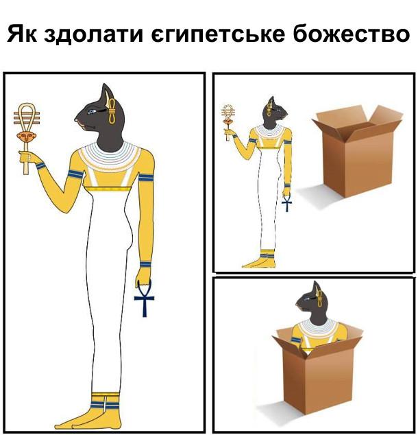 Як здолати єгипетське божество-кішку: поставити біля нього коробку і воно одразу туди залізе