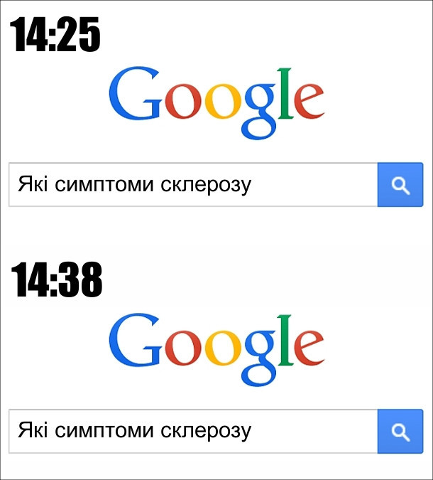Пошуковий запит в Google о 14:25: які симпотми склерозу; о 14Ж38 знову: які симптоми склерозу