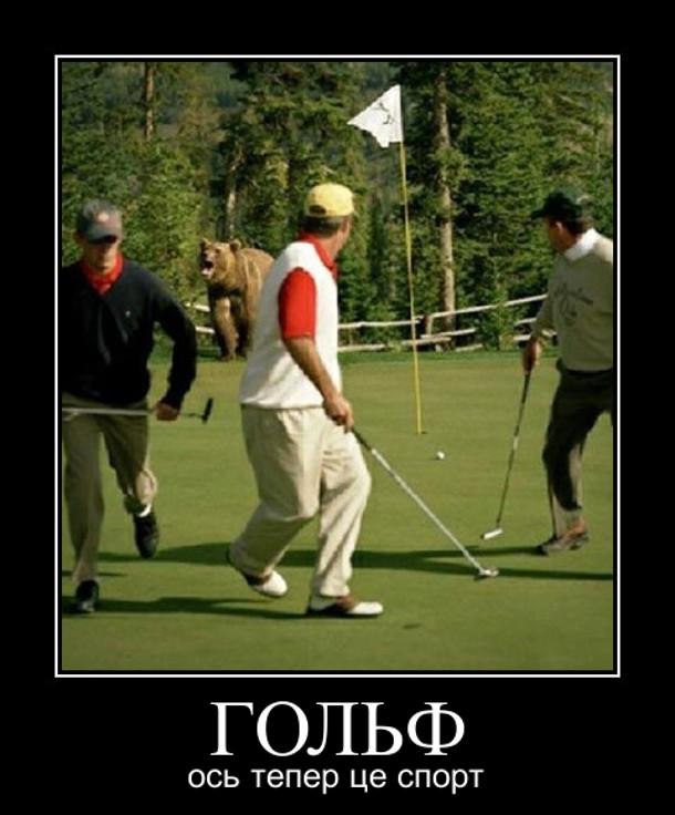 Ведмідь вибіг на поле для гольфу. Гольфісти почали втікати. Гольф - ось тепер це спорт
