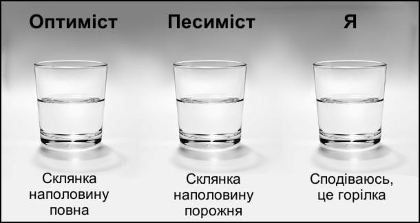 Оптиміст: склянка наполовину повна. Песиміст: склянка наполовину порожня. Я: сподіваюсь, це горілка
