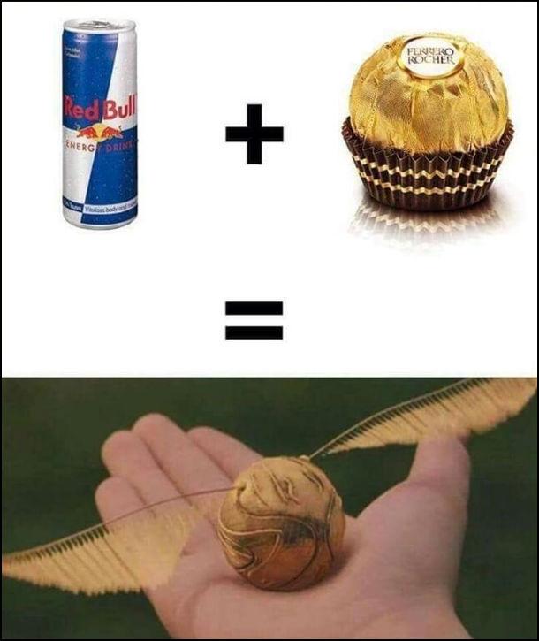 Якщо змішати Red Bull і Ferrero Rocher отримаємо золотий снітч (з кники  і фільму про Гаррі Поттера)