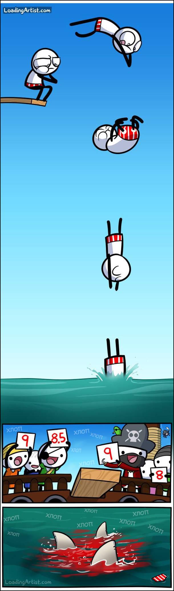 Чоловік вийнов на трамплін підпригнув, зробив сальто і пірнув у воду. Його з'їли акули. Пірати виставили оцінки за стрибок