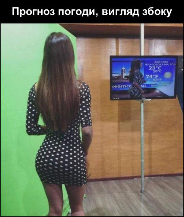 Прогноз погоди, вигляд збоку. Дівчина ведуча з великою дупцею стоїть на фоні зеленого екрану і дивиться на екран