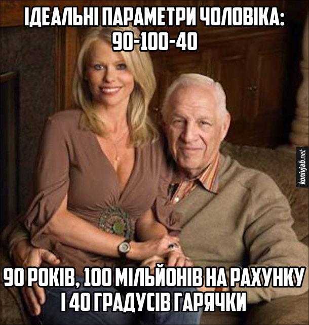 Ідеальні параметри чоловіка: 90-100-40. 90 років, 100 мільйонів на рахунку і 40 градусів гарячки. На фото: старий мільйонер, в якого на колінах сидить молода приваблива дружина. Прикол про шлюб з розрахунку