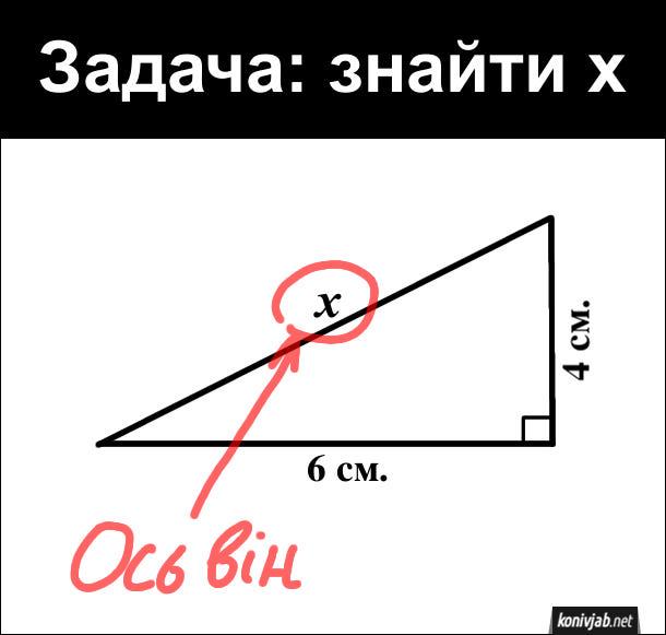 Задача: як знайти x, гіпотенузу прямокутного трикутника з катетами 6 см. і 4 см.