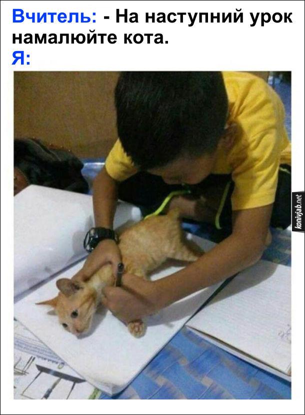 Як малювати кота. Вчитель: - На наступний урок намалюйте кота. Я взяв кота, поклав на аркуш паперу і обвів його олівцем