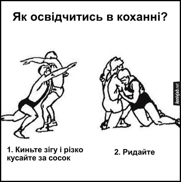 Як освідчитись в коханні? Покрокова інструкція. 1. Киньте зігу і різко кусайте за сосок. 2. Ридайте. Ілюстрації позицій в самбо (чи якійсь іншій боротьбі)