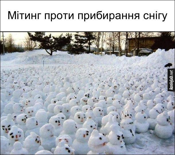 Багато сніговиків. Мітинг проти прибирання снігу