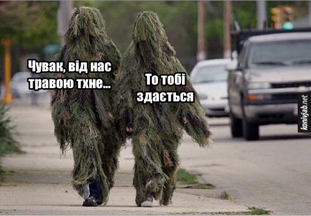 Прикол про наркоманів. Вулицею йдуть двоє чоловіків в маскувальних костюмах. - Чувак, від нас травою тхне... - То тобі здається
