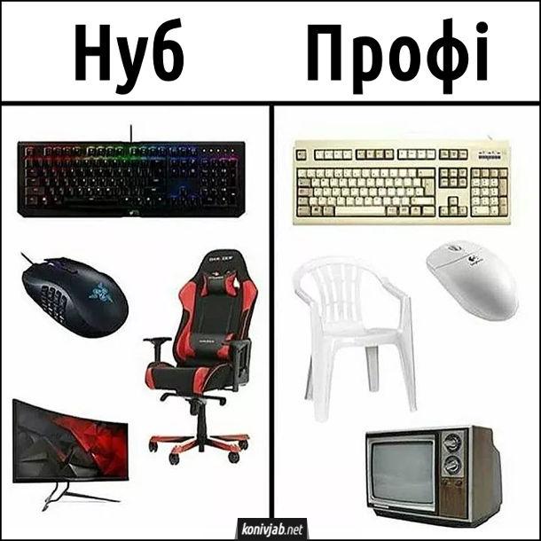 Жарт про гравців. Нуб - спеціальні ігрові клавіатура, мишка, крісло, широкоекранний монітор. Профі - стара клавіатура, стара мишка, пластикове крісло і старий ламповий телевізор