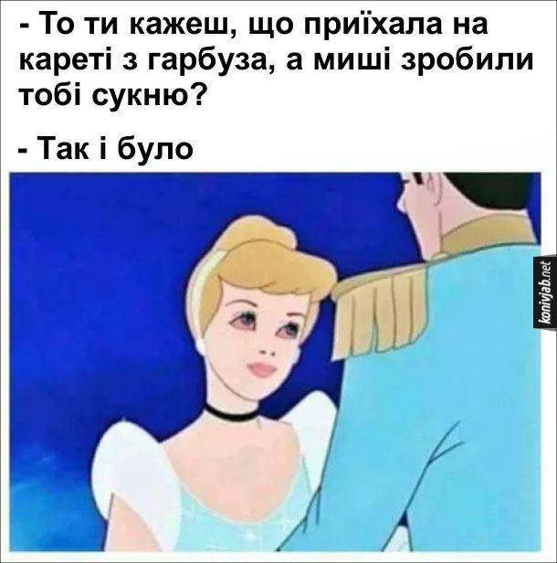 Жарт про Попелюшку. Принц: - То ти кажеш, що приїхала на кареті з гарбуза, а миші зробили тобі сукню? Попелюшка: - Так і було