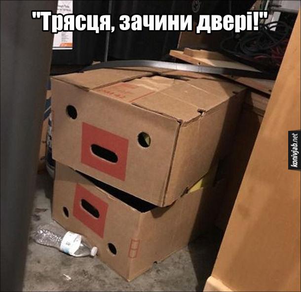 Прикол з коробками. Дві коробки лежать одна на одній, ніби в них секс. Одна з коробок: - Трясця, зачини двері!