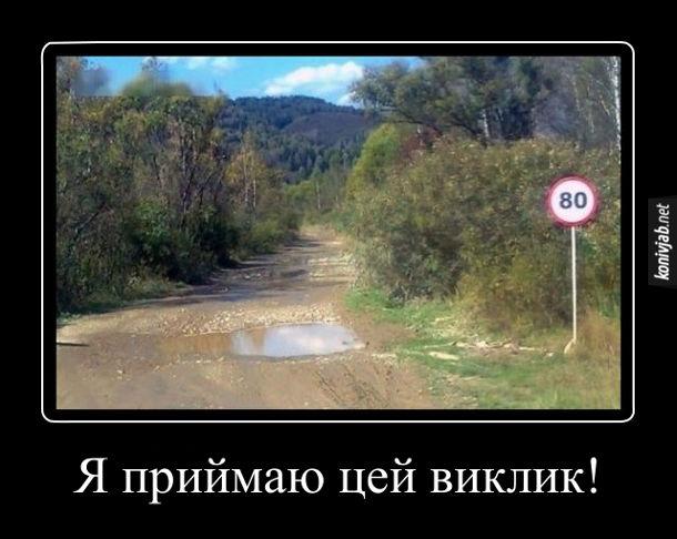 Жарт про дорогу. Дорога з калюжами і знак обмеження швидкості 80 км/год. Я приймаю це виклик