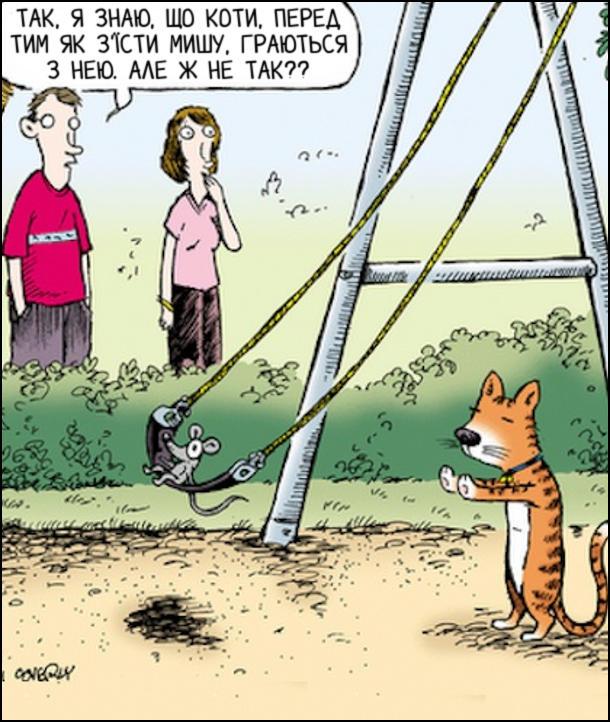 Смішний малюнок. Кіт грається з мишею, гойдаючи її на гойдалці. За чим споглядають чоловік і жінка. Чоловік: - Так, я знаю, що коти, перед тим як з'їсти мишу, граються з нею. Але ж не так??