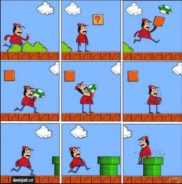 Смішний комікс про Маріо з комп'ютерної гри. Маріо вибиває гриба, з'їдає його, потім в нього срачка і він біжить і сідає срати на трубу
