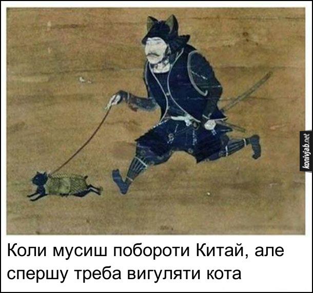 Прикол про самурая. Коли мусиш побороти Китай, але спершу треба вигуляти кота