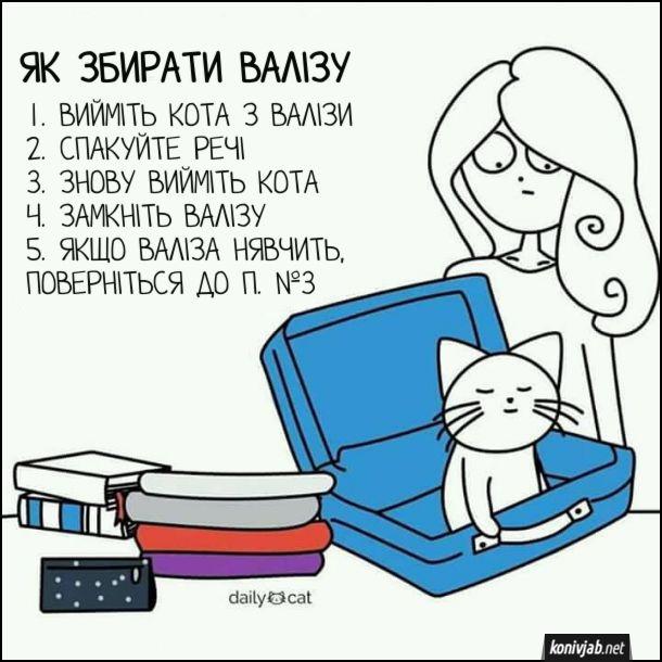 Прикол, жарт. Як збирати валізу. 1. Вийміть кота з валізи. 2. Спакуйте речі. 3. Знову вийміть кота. 4. Замкніть валізу. 5. Якщо валіза нявчить, поверніться до п. №3