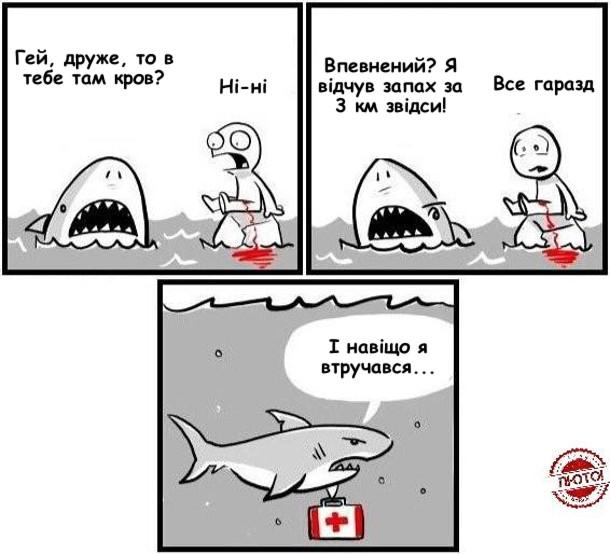 Комікс про акулу. Акула підпливла до чоловіка, який сидить на камені і стікає кров'ю. Акула: - Гей, друже, то в тебе там кров? Чоловік, перелякано: - Ні-ні. Акула: - Впевнений? Я відчув запах за 3 км звідси! Чоловік: - Все гаразд. Акула відпливає, тримаючи в плавнику аптечку і бубнить: - І навіщо я втручався...