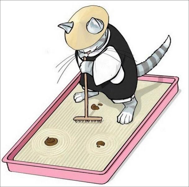 Жарт про котячий лоток. Кіт в японському одязі загрібає пісок лотку, щоб зробити щось на зразок саду камінців,з какунцями в якості каміння