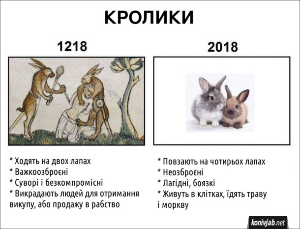 Прикол про кроликів. Кролики в 1218 році (згідно з дивних середньовічних картин): * Ходять на двох лапах * Важкоозброєні * Суворі і безкомпромісні * Викрадають людей для отримання викупу, або продажу в рабство. 2018: * Повзають на чотирьох лапах * Неозброєні * Лагідні, боязкі * Живуть в клітках, їдять траву і моркву
