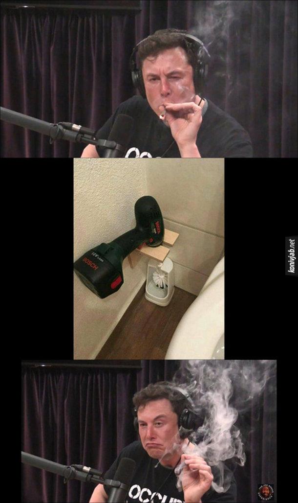 Ілон Маск курить марихуану, побачив пристрій - йоршик для унітазу, з приєднаним до нього електродрилем.