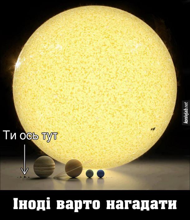Земля в порівнянні з Сонцем та іншими планетами Сонячної системи. Ти живеш ось тут. Іноді варто нагадвти, насткільки Земля маленька в порівнянні з іншими космічними об'єктами