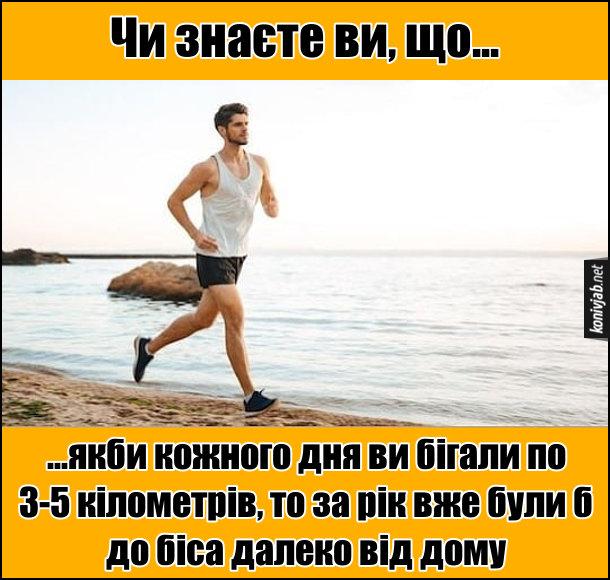 Прикол про бігання. Чи знаєте ви, що якби кожного дня ви бігали по 3-5 кілометрів, то за рік вже були б до біса далеко від дому