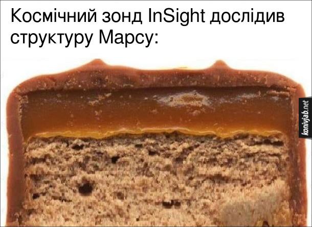 Жарт про Марс. Космічний зонд InSight дослідив структуру Марсу: шоколадний батончик Mars в розрізі