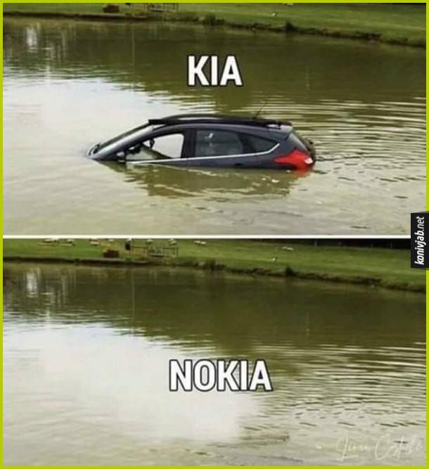 Прикол Kia в'їхала у водойму і зникла під водою - стала NoKia