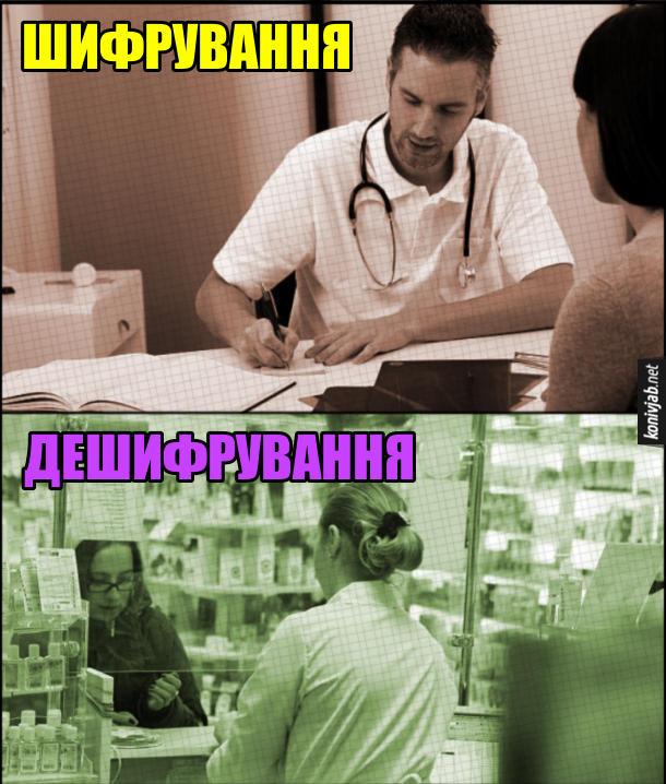 Мем про лікарський почерк. Лікар виписує рецепт - це шифрування. Аптекарка читає рецепт - це дешифрування