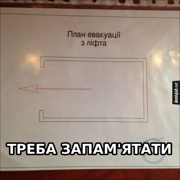 Прикол План евакуації з ліфта. Стрілочка показує на вихід. Треба запам'ятати