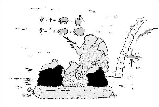 Смішний малюнок Школа в доісторичні часи. Первісний чоловік-вчитель навчає учнів. Пише на стіні приклади. Якщо людина плюс спис плус тварина довівнює сита людина. Якщо людина мінус спис плюс тварина дорівнює сита тварина