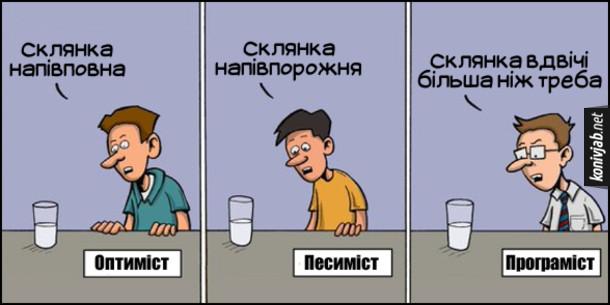 Смішний малюнок Типи людей. Оптиміст: - Склянка напівповна. Песиміст: - Склянка напівпорожня. Програміст: - Склянка вдвічі більша ніж треба
