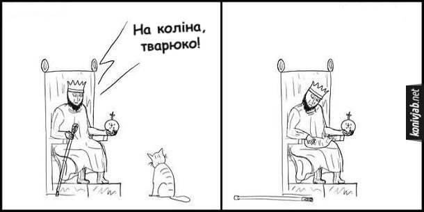 Прикол Король і кіт. Король: - На коліна, тварюко! Кіт вицибнув йому на коліна
