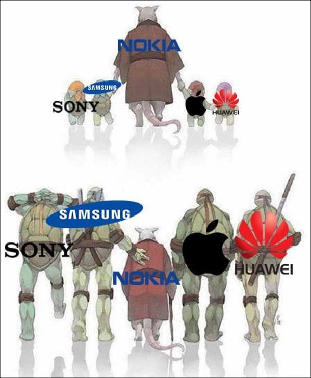 Мем про Nokia. Сплінтер (Nokia) веде маленьких черепашок-ніндзя (Sony, Samsung, Apple, Huawei). А потім черепашки ніндзя виросли і стали більшими за Сплінтера