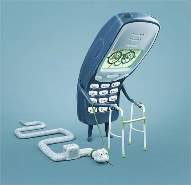 """Смішна картинка Nokia 3310. Нокіа 3310 як пенсіонерка йде накостилях, а поряд з нею на прив'язку змія (з гри """"змійка"""")"""