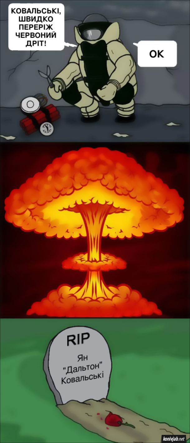 """Смішний комікс про сапера. По рації: Сапер Ковальські, швидко переріж червоний дріт! Ковальські: - ОК.  Але сапер був дальтоніком і перерізав інший дрів. Стався вибух. І на його могилі було написано RIP Ян """"Дальтон"""" Ковальські"""