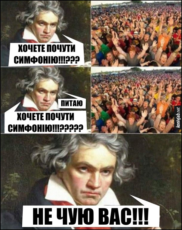 Мем про Бетховена. Людвіг ван Бетховен на концерті: - Хочете почути симфонію!!!??? (публіка хоче) - Питаю, хочете почути симфонію!!????? (публіка хоче) Не чую вас!!! (бо він був глухим)