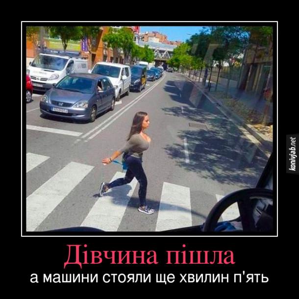 Демотиватор Сексуальна дівчина на пішоходному переході. На переході пройшла дівчина з великим бюстом. Дівчина пішла, а водії стояли ще хвилин п'ять - щоб заспокоїтись