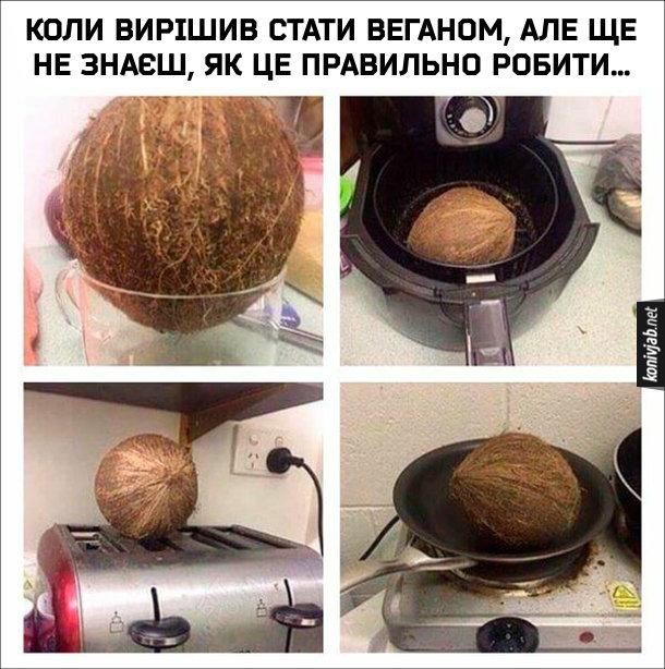 Мем Веган-початківець. Коли вирішив стати веганом, але ще не знаєш, як це правильно робити... Намагаєшся кокосовий горіх запхнути до чашки, смажити у фритюрі, на тостері, на пательні