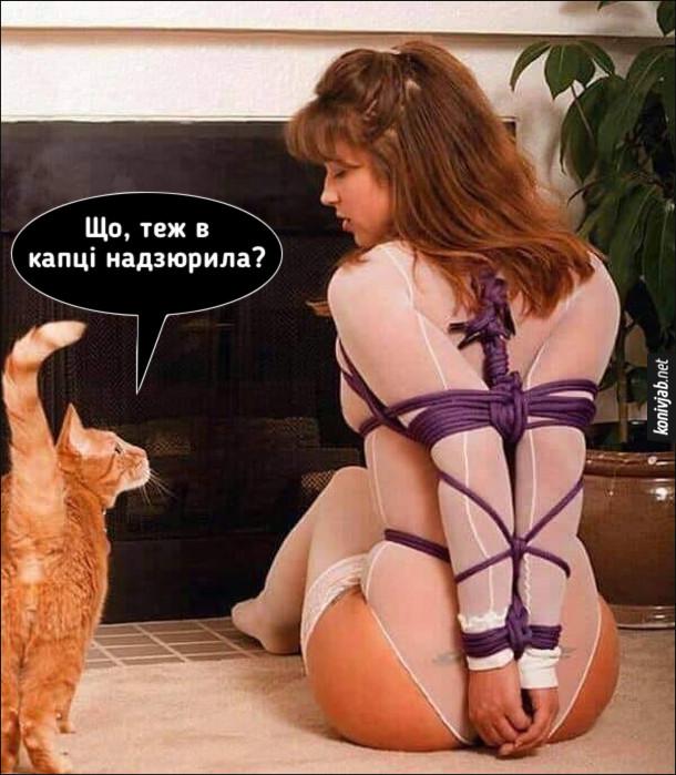 Прикол про бондаж. Напівоголена зв'язана дівчина. До неї підходить кіт: - Що, теж в капці надзюрила?