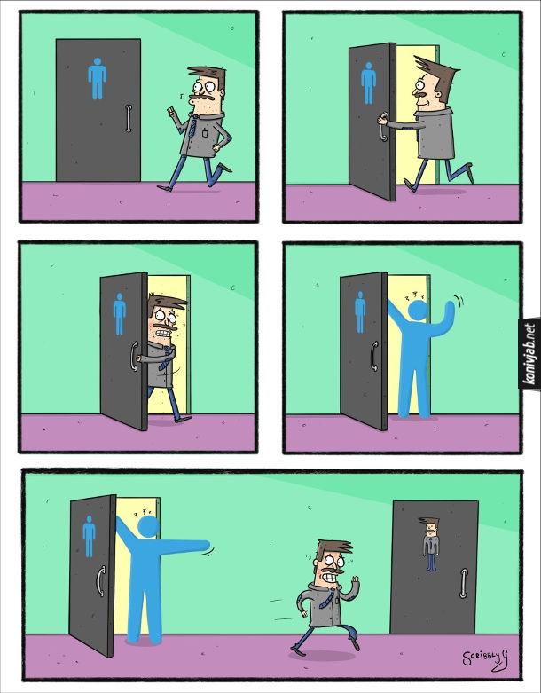 Комікс про громадський туалет. Чоловік забігає до туалету, де на дверях схематично зображений чоловік. Потім вибіг звідти, а за ним з лайкою вискочив точно такий чоловічок як на зображення. Чоловік пішов до дверцят де його зображення