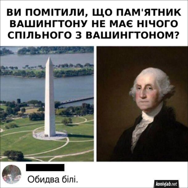 Прикол Монумент Вашингтона. Ви помітили, що пам'ятник вашингтону не має нічого спільного з вашингтоном. Коментар: Обидва білі.