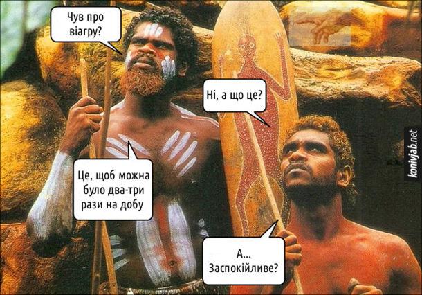 Смішна картинка про віагру. Два австралійські аборигени балакають. - Чув про віагру? - Ні, а що це? - Це, щоб можна було два-три рази на добу. - А... Заспокійливе?