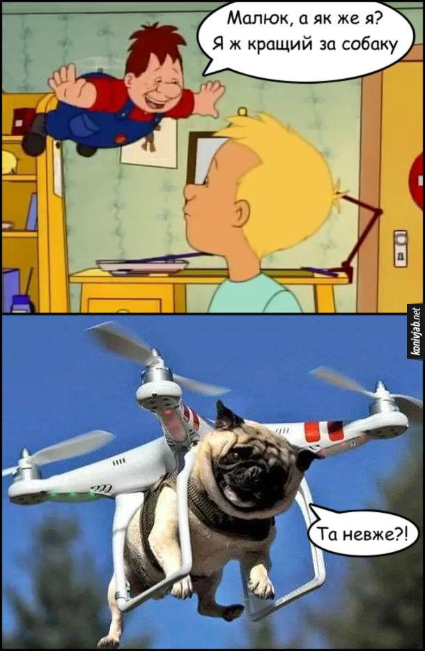 Прикол про Карлсона. Карлсон: - Малюк, а як же я? Я ж кращий за собаку. Мопс, що летить на дроні: - Та невже?!