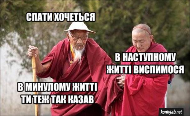 Жарт про буддистів. - Спати хочеться. - В наступному житті виспимося. - В минулому житті ти теж так казав.